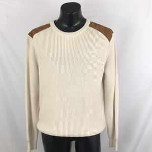 J. Crew Mens sweater Beige Brown Cotton Leather L
